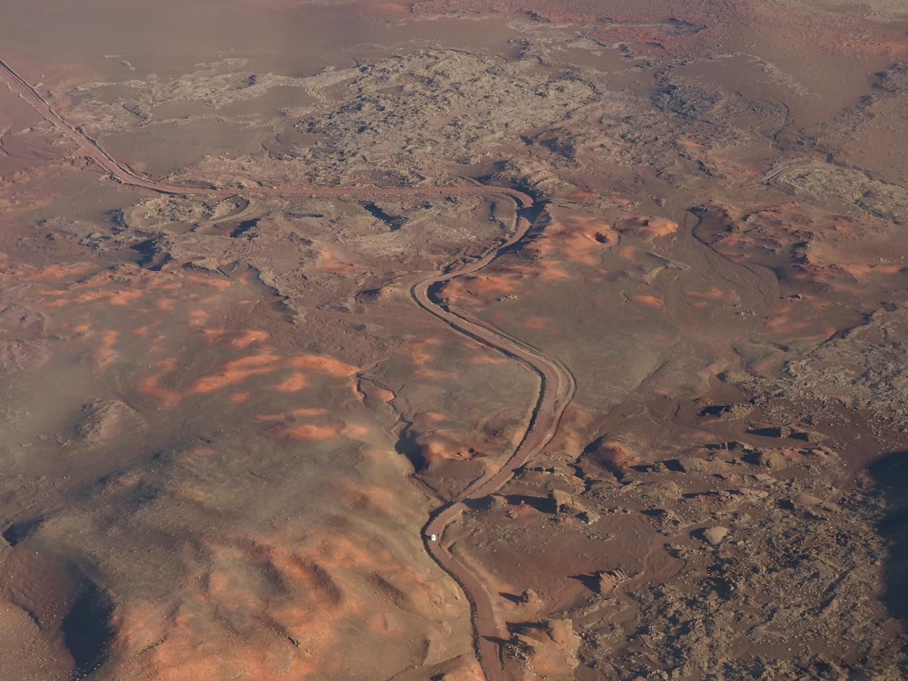 La plaine des Sables vue d'hélicoptère