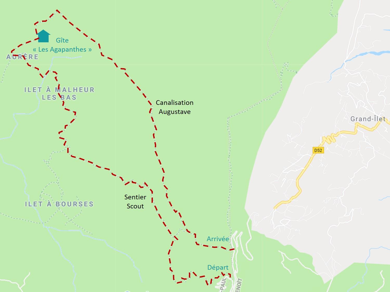 parcours de la randonnée dans Mafate : scout et augustave