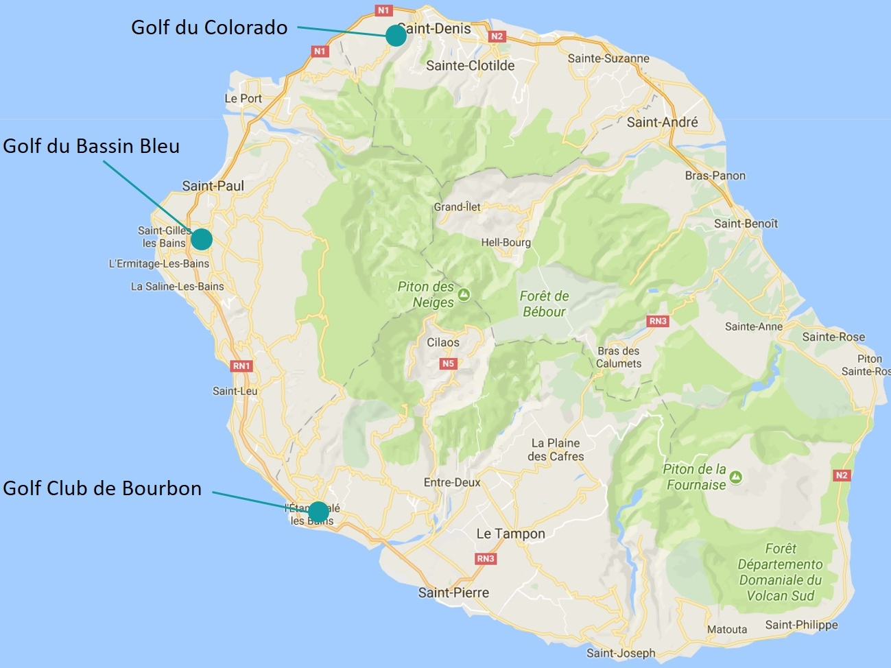 golf courses in Reunion island