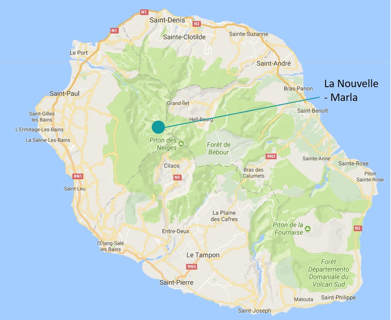 Carte localisation cirque de Mafate - Marla et La Nouvelle