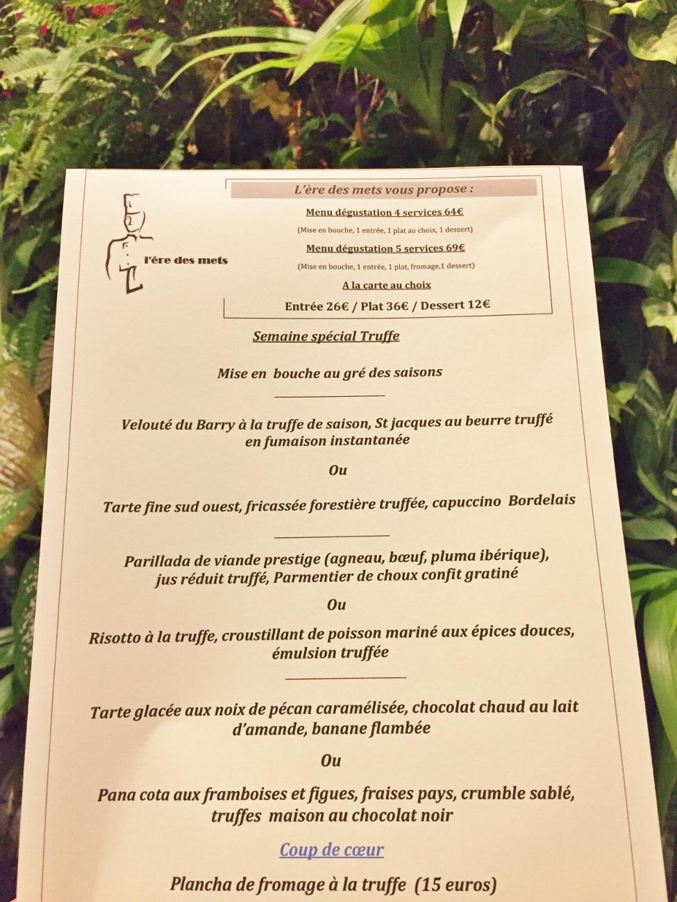 menu truffe au restaurant ère des mets